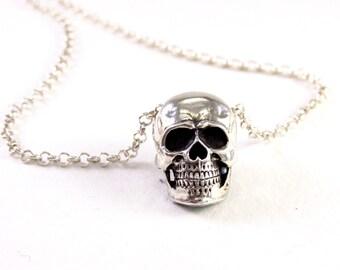 skull necklace, Skull Pendant, silver skull jewelry, Silver Skull necklace, mens skull necklace, rocker silver necklace,silver skull pendant
