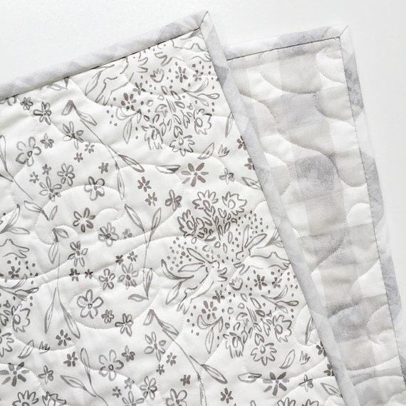 Sommer Wholecloth Baby Quilt Sundborn and Painted Gingham Grey >> READY-to-SHIP grey toddler quilt, toile stroller quilt, bunny crib quilt