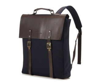 Basic Fashion Canvas Backpack (Navy)