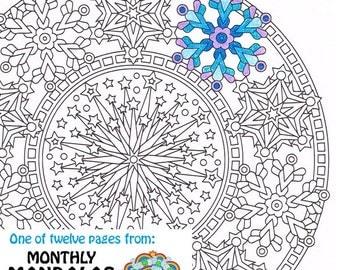mandala coloring page happy new year printable january coloring page adult coloring pages - Mandala Coloring Pages For Adults