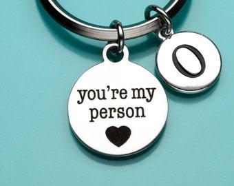 You're My Person Keychain, You're My Person Key Ring, Grey's Anatomy, Initial Keychain, Personalized Keychain, Charm Keychain, 745