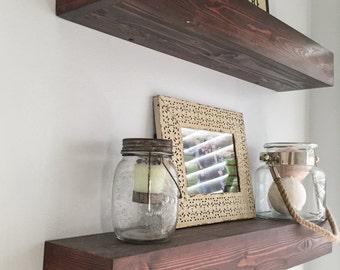 Farmhouse Wood Floating Shelves, Floating Shelf, Rustic Home Decor, Rustic Floating Shelf