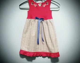 Toddler Dress, Girls Dress, Ready to Ship, Sundress, Red Pillowcase Dress, Repurposed Dress