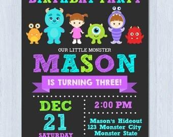 Monster Invitation, Monster Birthday Invitation, Monster Inc Invitation , Monster inc birthday invitation
