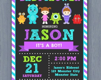 Monster Inc Baby Shower Invitation, Monster baby shower invitation, Monster Inc Baby Invite