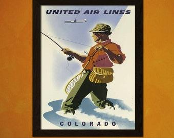 Colorado Travel Print - Vintage Colorado Travel Poster Art Reproduction Travel United Ar Line Colorado Poster  t