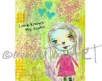 Hope - Cute Whimsical Girl Mixed Media Art Print 8x10