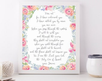 Watercolor Isaiah 43 Print, Fear Not for I have Redeemed You, Scripture Print,