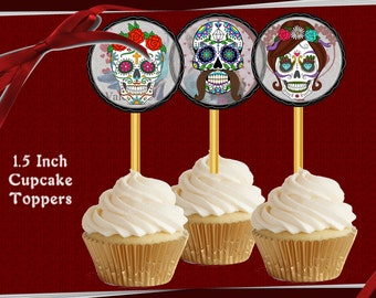SUGAR SKULL Day of the Dead images for Cupcake Topper 1.5 inch Cupcakes Toppers or favor bag tags