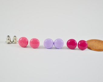 FREE SHIPPING, Magenta studs, pink studs, lilac studs, purple studs, fuchsi studs, small stud earrings, tiny studs
