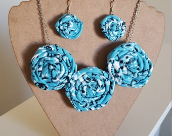 Rolled Rosette Fabric Flower Statement Necklace and Earrings Set in Light Blue