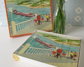 Vintage Duplex Children's of a Ship and a Hay Wagon by Kolibri 2721 Holland 50s