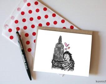 King Kong Loving on NYC Card // King Kong Valentine // King Kong Card // NYC Valentine // NYC Cards