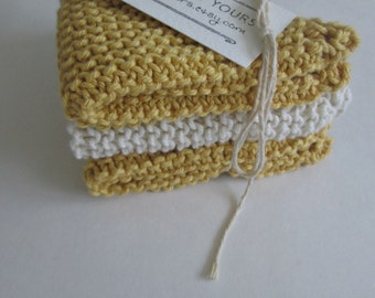 Hand Knit Cotton Washcloths (Set of 3), Textured, Reversible ∙ Dishcloths ∙ Cleaning Cloths