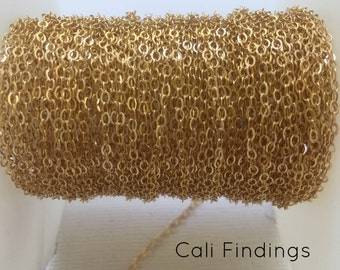 1.5mm 14K Gold Filled Flat Cable Chain- 10 FEET, Gold Cable Chain 1.5mm, Gold Filled Chain, Bulk Gold Filled Cable Chain, Gold Chain