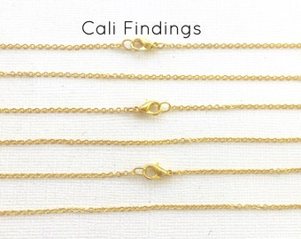 """100 Pcs GOLD PLATED 16"""" Finished Chain, Flat Shiny Cable Chain Soldered, 1.75 x 1.85mm, 100 Pieces, Gold Chain, Bulk Chains, 16 inch"""