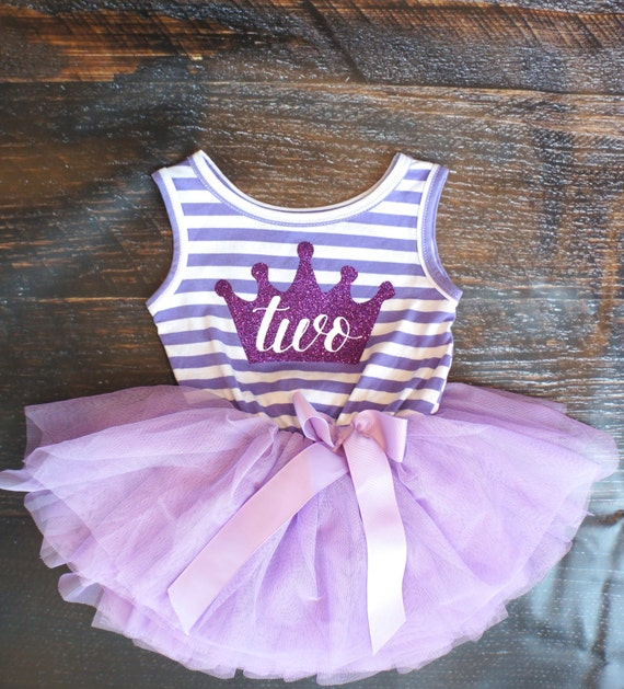Second Birthday Outfit Dress With Purple Crown By
