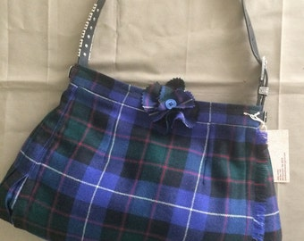 Blue-green-red-white tartan plaid wool kilt bag with black-silver strap