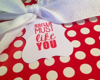 Santa Christmas Gift Tags/Wine Tags - Red and White - Set of 6