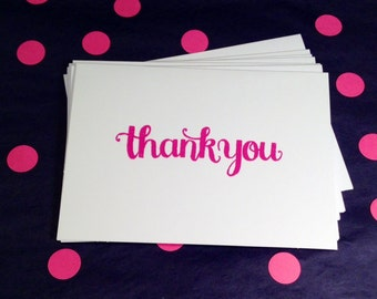 Thank You Folded Note Cards - Pink and White - Set of 8