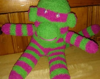 Purple and Green Striped Sock Monkey