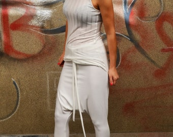 White Low Drop Crotch Trousers/Harem Leggings/ Loose  Yoga Pants/Summer Trousers