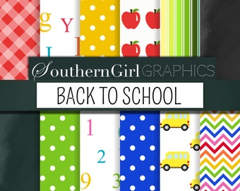"School Digital Paper - ""BACK TO SCHOOL""  with alphabet, number, apple, pencil, crayon, bus, chalkboard patterns for crafts, scrapbooking"