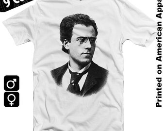 Gustav Mahler American Apparel T-shirt S-XXL Classical Music, Composer, Beethoven, Chopin, Liszt, Bach, Piano, Symphony, Cool Gift!