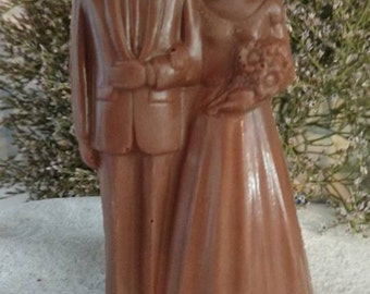 Chocolate wedding cake topper.  Bridal shower favor.