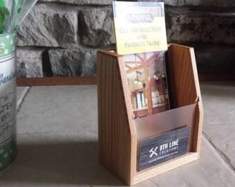 Oak Brochure Holder, Brochure Display, Brochures, Desk Accessory, Office Supplies