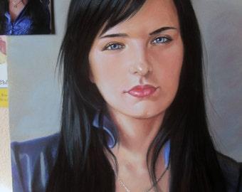 Portrait from photo, custom portrait,pastel,handmade painting,original, valentines gift,1 Person, original painting,women portrait, fine art