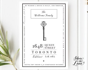 Vintage Key - Moving Announcement - Change of Address - New Home Invitation