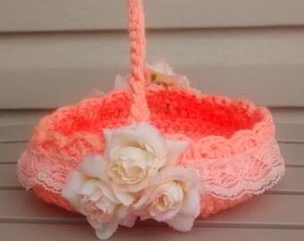 Flower Girl Basket, Crochet Basket, Wedding Basket, Crochet flower Girl Basket, Peach Wedding Basket