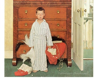 Discovering Santa, love his expression. Post cover from 1956 painted by Norman Rockwell