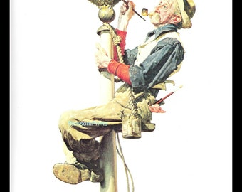 Man Painting a Flagpole Post cover May 26, 1928. From the book Norman Rockwell's America