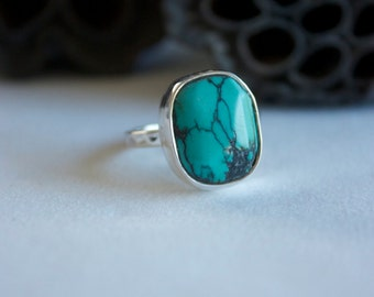 Genuine Turquoise Ring with Beaten Sterling Silver