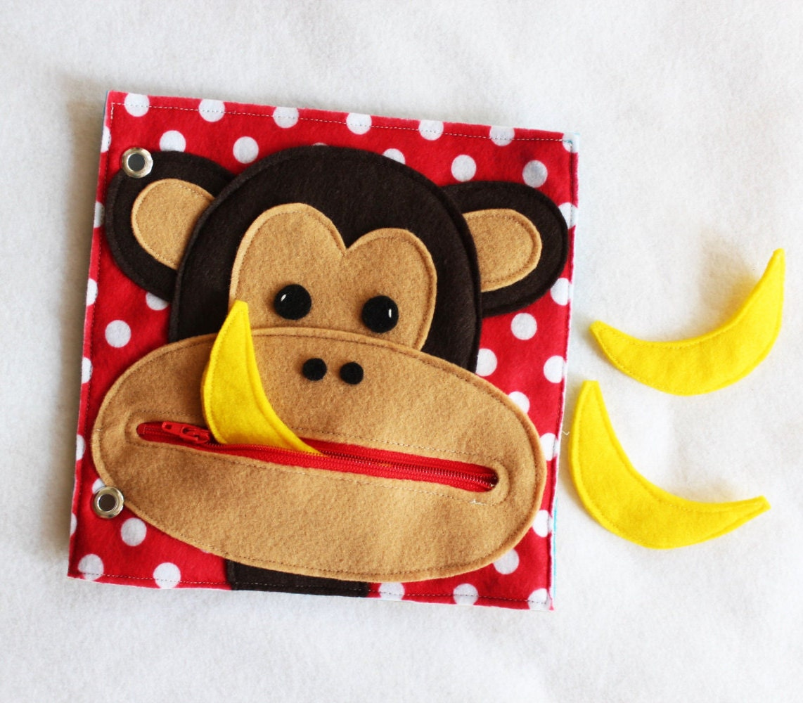 New Hungry Monkey Hand Made Quiet Book Page A