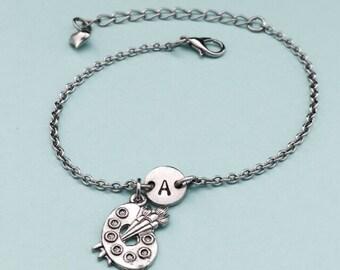 Paint palette charm bracelet, paint palette charm, adjustable bracelet, paint, personalized bracelet, initial, monogram