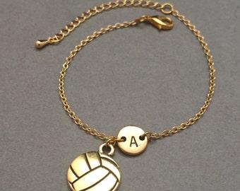 Volleyball charm bracelet, volleyball charm, adjustable bracelet, sports, personalized bracelet, initial bracelet, monogram