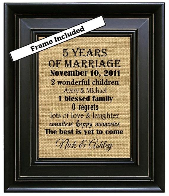 Fifth Year Wedding Anniversary Gift: FRAMED Personalized 5th Wedding Anniversary Gift/5th