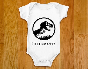 Jurassic Park Baby Bodysuit, Onesie - Life finds a way