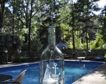 Large Nautical Etched Hanging Wine Bottle Candle with Votive and Glass Gems