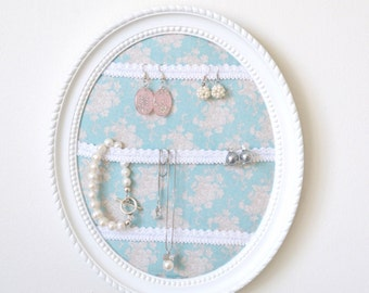 frame oval door-jewellery, ivory, blue Tilda fabric, Ribbon trimmings