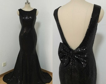 Mermaid Backless Black Sequin Long Prom Dress with Sequin Bow
