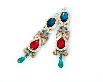 Neutral earrings, nude earrings, colorful earrings, blue red green earrings, long casual earrings, soutache earrings, gift for her, crystal