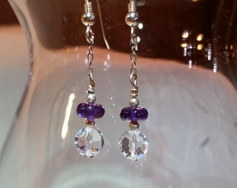 Deep Brazilian Amethyst Swarovski Drop Earrings