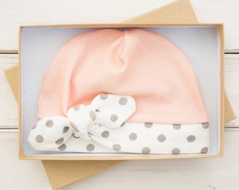 Baby Girl Organic Cotton Newborn Beanie with Bow - Peach, White and Gray Newborn Hat - Baby Beanie - Baby Girl Winter Cap - Hospital Hat
