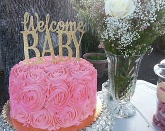 Baby Shower Cake Topper, Welcome Baby Cake Topper, Gold Baby Shower Cake Topper, Gold Welcome Baby, Gold Cake Topper