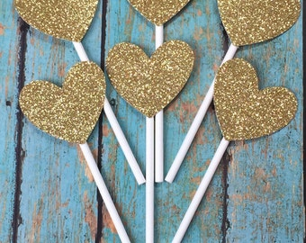 Heart Cupcake Toppers, Love Cupcake Toppers, Gold Cupcake Toppers, Hearts, Wedding, Engagement Cupcakes Decorations, We're Engaged Cupcakes