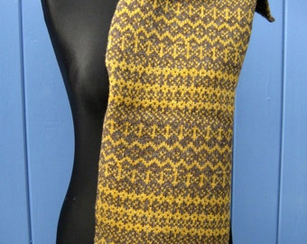 Fair Isle Scarf In Scotch Broom Yellow and Natural Brown Pure Shetland Wool